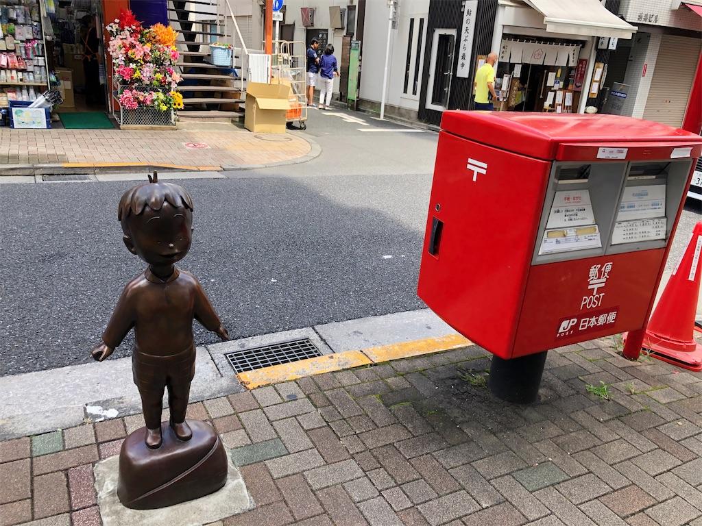 神楽坂コボちゃん像 郵便ポストより小さい