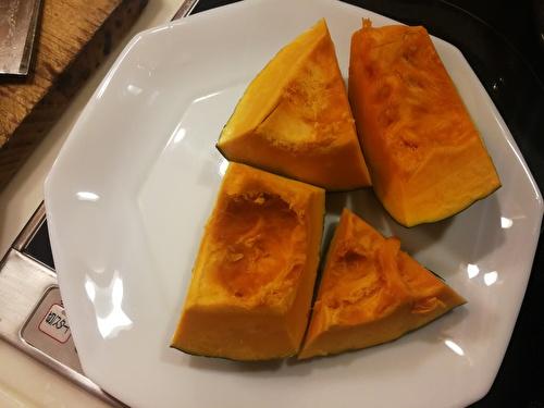 かぼちゃをレンジで温める