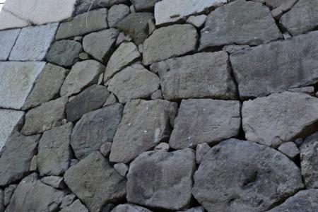 江戸城桔梗門脇石垣の刻印石