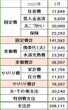 2020年3月の家計簿