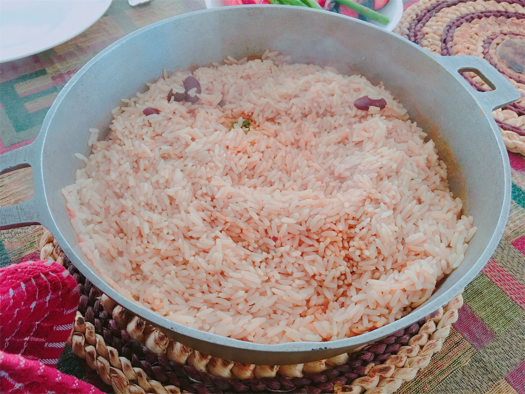 野菜ストックとタコスの豆スープの炊き込みご飯