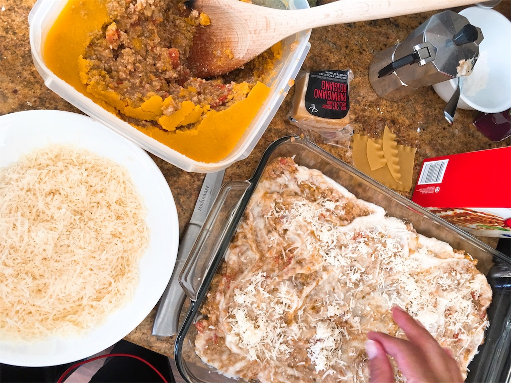 合挽肉と野菜たっぷりトマトソースのラザニア