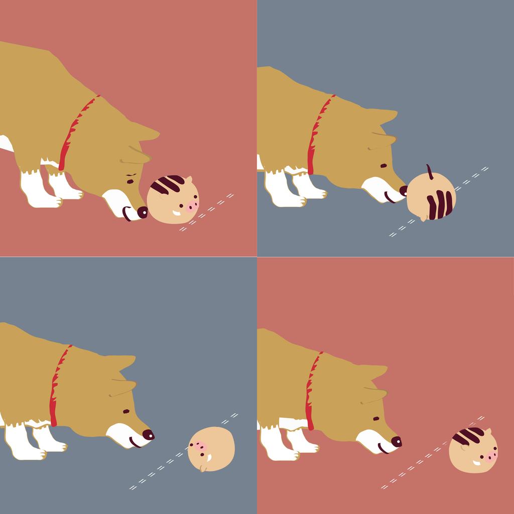 2031年ウリボー亥年の年賀状・フリー素材柴犬とウリボーの年越し4コマ漫画