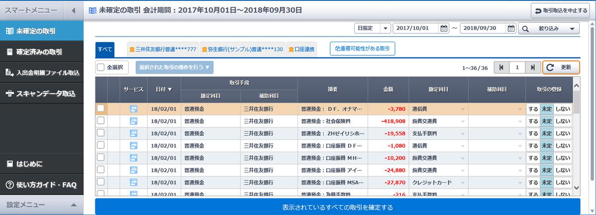 やよいの青色/白色申告オンラインのスマート取引取込画面