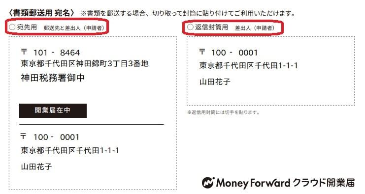 税務署宛名印字画面面
