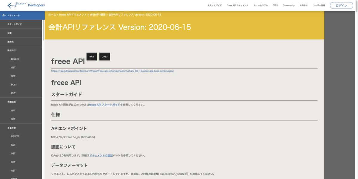 会計freeePublic APIリファレンスのスクリーンショット。一番上に会計APIリファレンス Version: 2020-06-15と記載されている