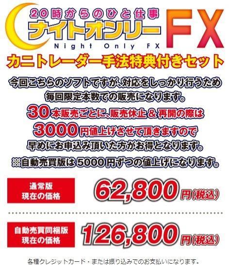 ナイトオンリーFX&カニトレーダートレード手法フルセット価格