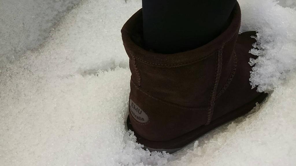 EMUの防水ブーツを履いて雪かき