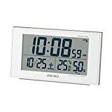 SEIKO CLOCK (セイコークロック) 目覚まし時計 電波 デジタル カレンダー・快適度 温度・湿度表示 白パール SQ758W