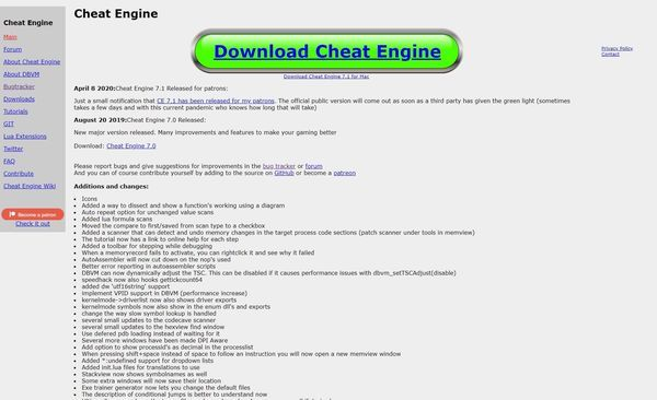 Cheat Engineダウンロード画面