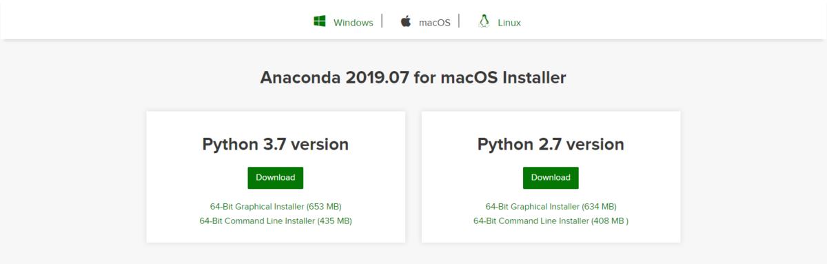 Anacondaの公式サイト。ダウンロードボタン