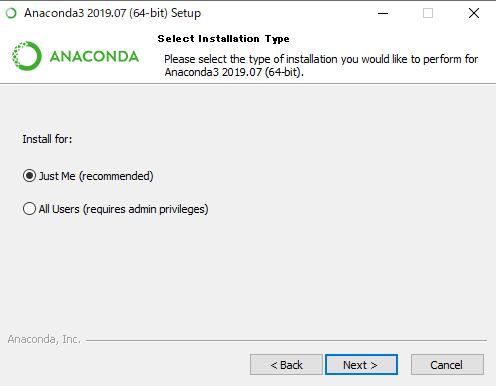 Anacondaのセットアップ画面。recommendをクリックして下さい。