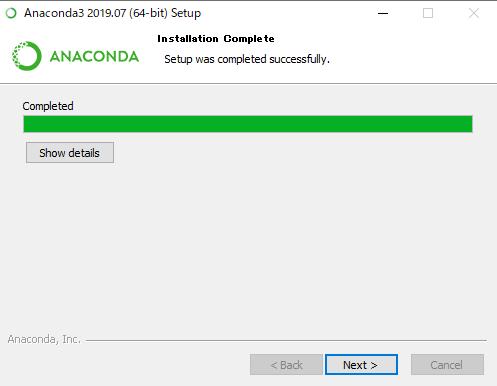 Anacondaのセットアップが終わった画面