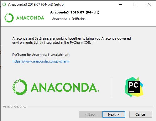 AnacondaはPyCharmを推奨しますという画面