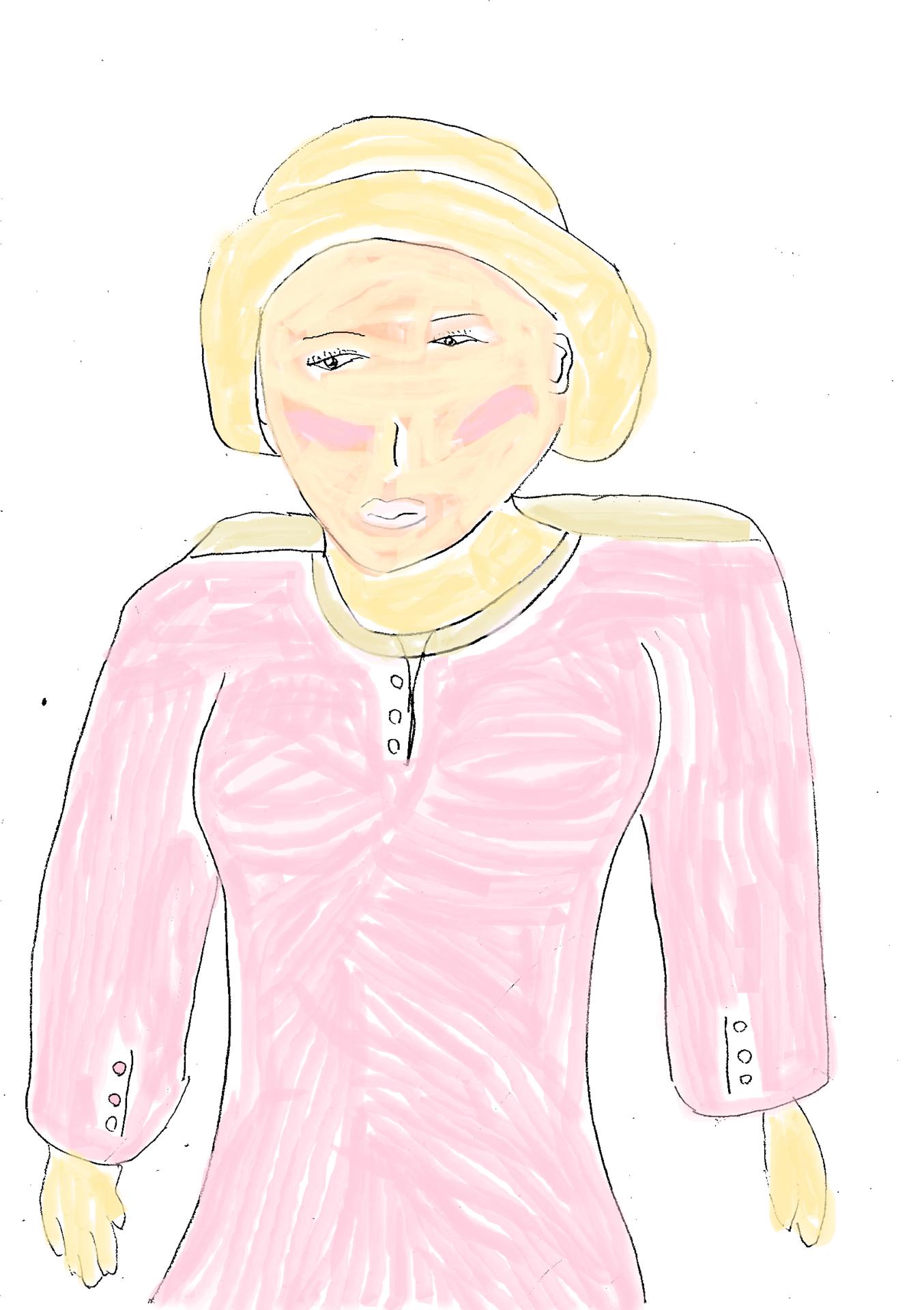 婦人画(鉛筆・水彩)