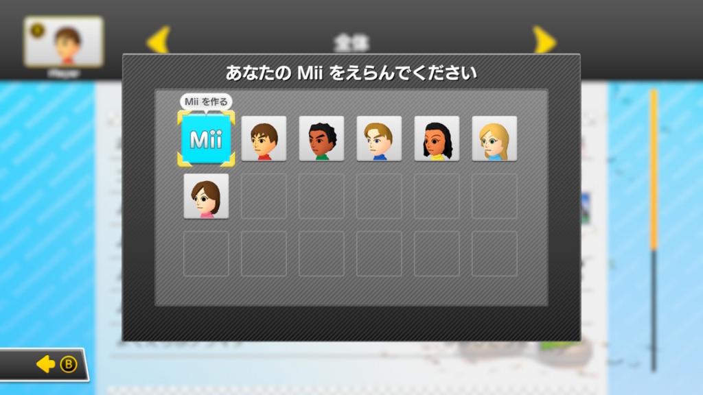初期状態のMii選択画面
