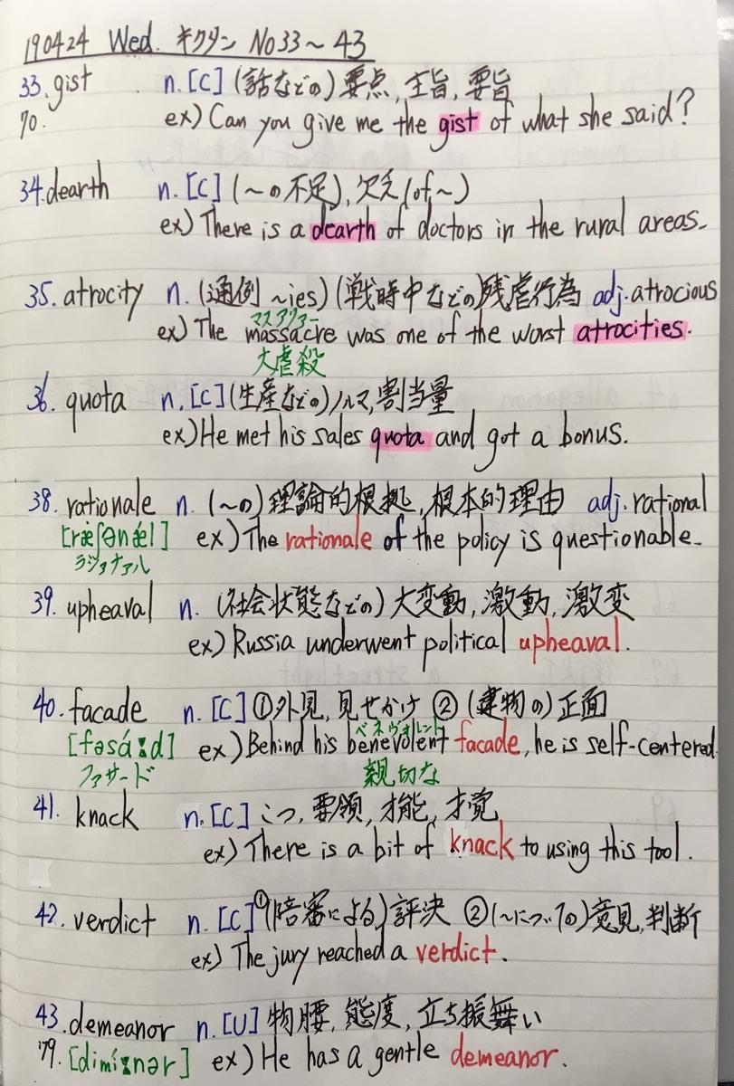 『キクタン』掲載の英単語を基にした自作ノート