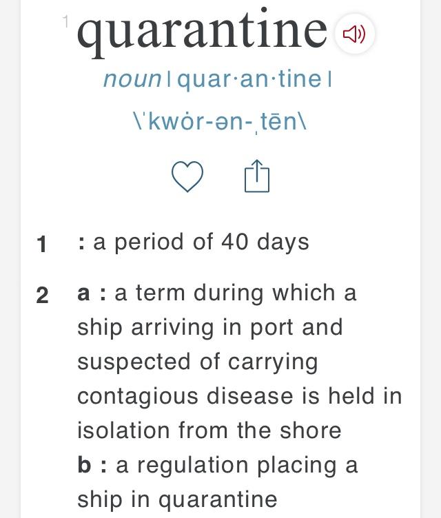 "Merriam-Websterで調べた""quarantine""の説明"