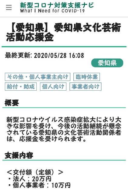 愛知県の活動応援金