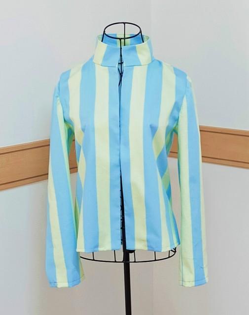 パピエのハンドメイドのニットソーイングの洋裁の手作りのレディースのストライプのスタンドカラーのおススメのお洒落な派手なジャケット