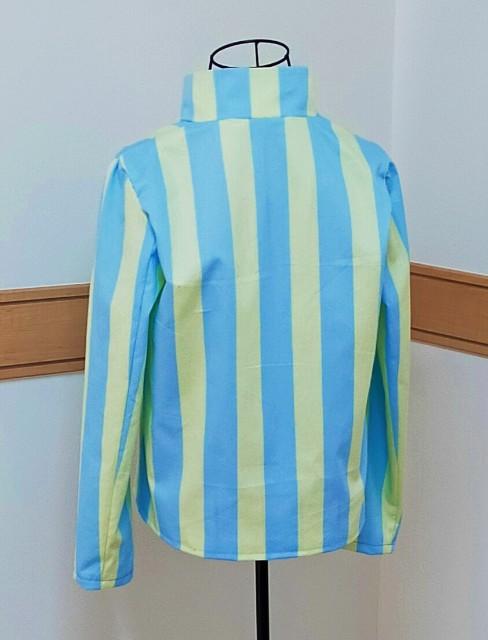 papierのスタンドカラーの縞々のお洒落なジャケット