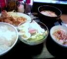 鶏の天ぷら、ハムサラダ@西池袋食堂