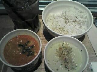 カムジャタン、牡蠣のポタージュ、アイス烏龍茶、白胡麻ご飯