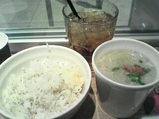 東京參鶏湯、白胡麻ご飯、アイス烏龍茶