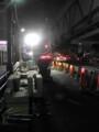山手通りで、夜間工事中。デッカイ照明だなぁ。