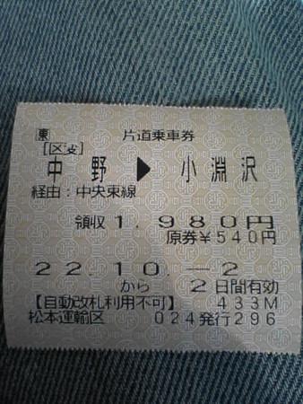 中野→小淵沢 JR東日本片道乗車券