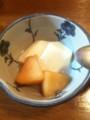 杏仁豆腐林檎のコンポート添え