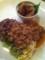 カツオの揚げつくね 梅肉ソースとカレー風味のドライ坦々飯@山羊に