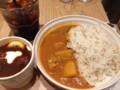 バターチキンカレー大盛と東京ボルシチとアイスコーヒー