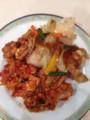 チキンのトマト煮、白身魚のムニエル、マカロニのカレー炒め at 青山