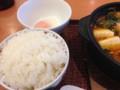 [デニーズ]野菜と豚肉のピリ辛チゲ~半熟たまご添え(ごはんつき)