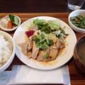 蒸し鶏の四川風ピリ辛だれ ライス大盛 at かっぱ食堂