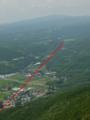 丹那盆地 田代から断層がほぼ直線で池の山峠まで