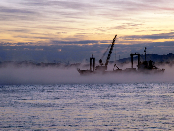 海霧と作業船