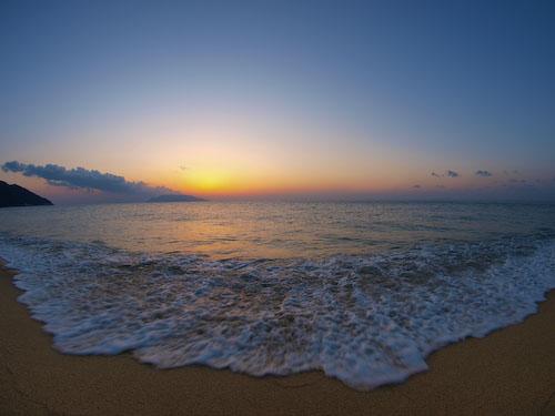 永田いなか浜の夕暮れ