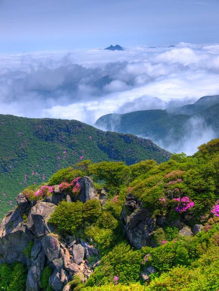 大船山より由布岳を望む