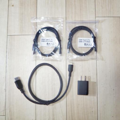 cocopar 15.6インチ モバイルディスプレイの付属ケーブル