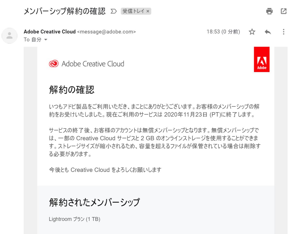 Adobeを解約すると確認メールが届く