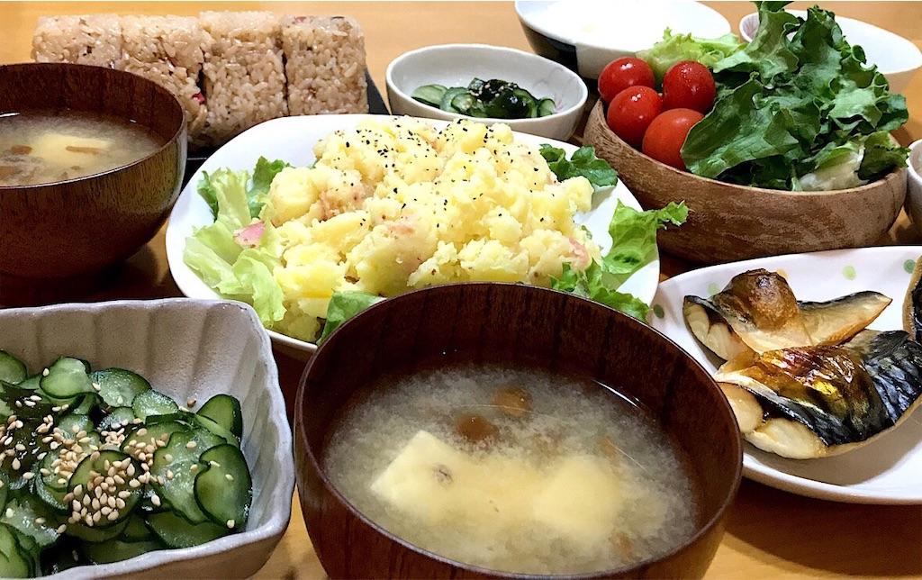 【シンプルポテサラ】きゅうりの酢の物と焼きサバと~ヘルシー晩ごはん~