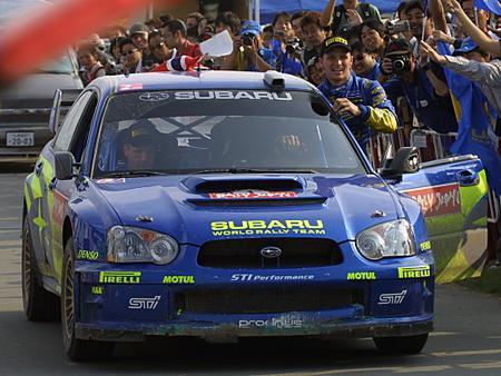 箱乗りペター・ソルベルグ@RallyJapan(2004/09/05)