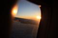 [風景][夕焼け]日本へ向かう飛行機から観る夕陽