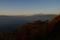 夕暮れ時の富士山、駿河湾越し