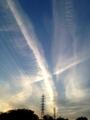 [風景][夕焼け]鉄塔と夕焼けの空