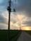 常総市付近で見る夕陽