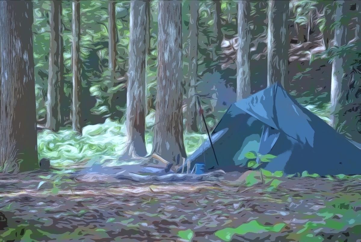 山奥のキャンプ場でのキャンプの様子