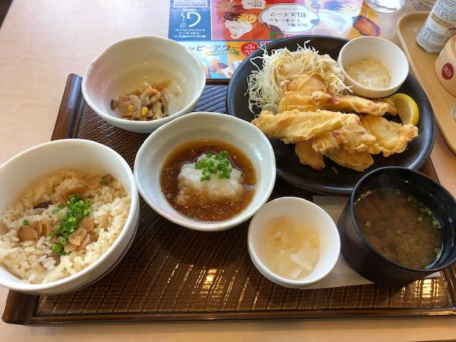 サクサクとり天と松茸ごはん和膳